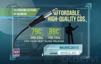Affordable CD's for your next music release. Get $0.79/unit for 500 CD's or $0.89/unit for 100 CD's.  Use the promo code MUSIC2013 to get the offer.  Offer valid until March 31, 2013