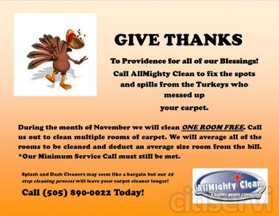When you call AllMighty Clean out to clean several rooms of carpet we will subtract an average size room from the bill. Our minimum service call must still be met.