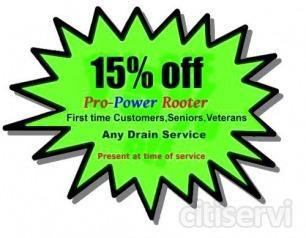 We offer 15% off any drain cleaning service for all new customers, seniors and military.