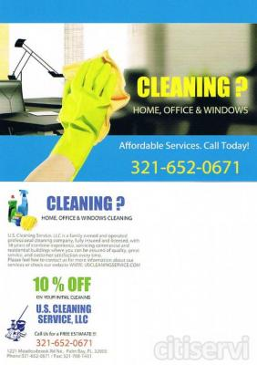 U.S. Cleaning Service offers a variety of janitorial and cleaning services to fit everyone's needs and budget. All the work is done by our trained, experienced and professional staff. We will go that extra step or two to ensure your satisfaction. Your s