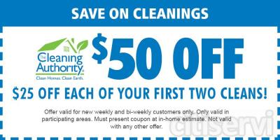 $25 off of your first 2 cleans if you sign up for weekly or bi-weekly service