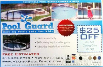 $25 off a self-closing Pool Fence gate when purchased with a Pool Safety Fence in Tampa FL.