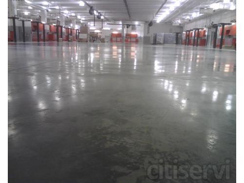 Concrete floor scrubbed clean