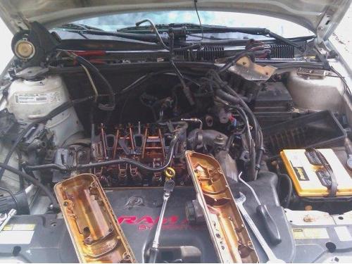 A mobile car engine needs repair