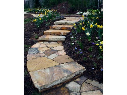 striking colors of slate walkway & steps