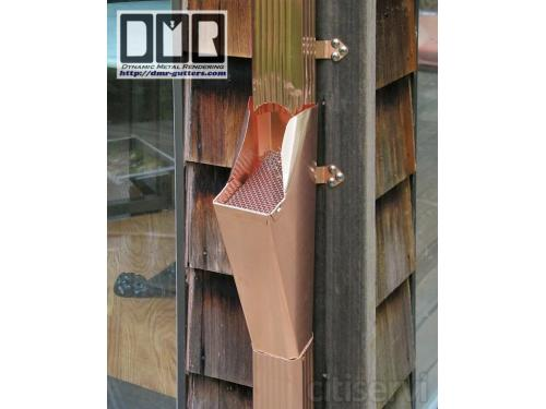 A copper Leaf-catcher we make with a stainless steel screen. Also made with aluminum housing