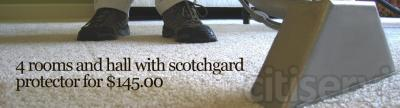 4 Rooms Deep cleaning with scotchgard fiber protector for $145