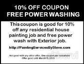 We are giving FREE power washing with an exterior paint job, not just previously painted surfaces, but brick, walkways, and patios, are included too. AND, a 10% DISCOUNT on interior and exterior painting
